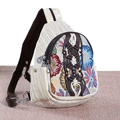 C&S CS National Style Kleine Rucksack Outdoor-Reisetasche Baumwolle und Hanf Student Dual-Zweck Kleine Schultasche Handtasche -