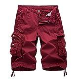 AYG Cargo Shorts Herren Bermudas Baumwolle Shorts(red Wine,40)