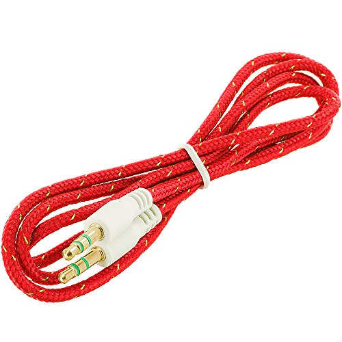 JYARA Fabric Woven Braided 3.5mm to 3.5mm Universal AUX TangleFree Auxiliary Cable for Car Stereo,Mobile Phones,CD,MP3,DVD,MP4 Players 1.5m Long Colorful Tangle Free. Compatible with Digiflip Pro XT 712  available at amazon for Rs.199