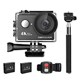 4K Action Cam, DBPOWER Sport Action Camera Waterproof 12MP 170 ° Wide Angle 2.0 Inch LCD Screen with 2pcs Batteries and Accessories kits