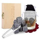 Whisky Stones,【Zwei Untersetzer und Spezielle Edelstahlpinzette】PEMOTech® 9 Stück von besten Granit-Drink-Rocks, verpackt in einer exklusiven hölzernen Geschenk-Tasche und geschmeidigen Samt-Tasche