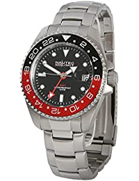 Nautec No Limit Herren-Armbanduhr Jackfish Analog GMT Edelstahl JKFS-QZ-GMT-STSTBKRD-BK