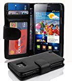 Cadorabo - Book Style Wallet Design for Samsung Galaxy S2 / S2 PLUS (I9100) with 2 Card Slots and Money Pouch - Etui Case Cover Protection in OXID-BLACK
