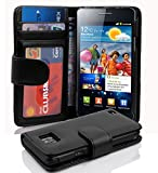Cadorabo Hülle kompatibel mit Samsung Galaxy S2 / S2 PLUS Hülle in OXID SCHWARZ Handyhülle mit 3 Kartenfächern Case Cover Schutzhülle Etui Tasche Book