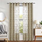 TOPICK Sheer Vorhang mit Stangenbezug Halb Transparent mit Stickerei Gardinen Schals Fensterschal Vorhänge 145 cm x 140 cm