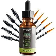 Aceite de ricino orgánico, aceite de ricino puro prensado en frío para el cabello, las pestañas, las cejas, la piel, el crecimiento del cabello y la cara ...