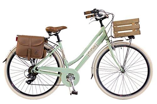 Via Veneto by Canellini - Damen-Citybike im Vintage-Stil, aus Aluminium - mit Korb, hellgrün