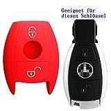 RotSale® 1x Rot Mercedes Benz Schlüsselhülle 2 Tasten Autoschlüssel Silikon Schutzhülle Tasche Gehäuse Fernbedingung
