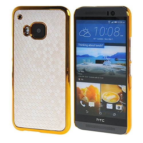 flash-flake-skin-gold-chrome-hard-back-case-cover-for-htc-one-m9-white