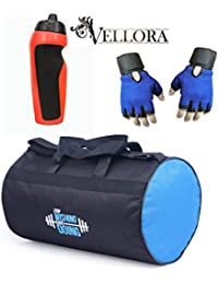 VELLORA Polyester Long Lasting Material, Duffel Gym Bag Blue With Penguin Sport Sipper, Gym Sipper Water Bottle... - B07F2PMLSN