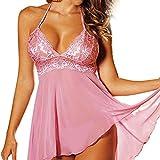 SUNNSEAN Dessous,Mode Sexy Nachthemd 2 Stück Set Super Sexy Frauen Dessous Plus Größe Spitzenkleid Unterwäsche Versuchung Plus Größe (4XL, Rosa)