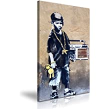 HIP HOP BBOY Banksy Graffiti Stretched Canvas Wall Art Picture Print 50x76cm
