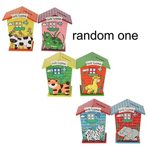 Qsoleil Hucha de madera en forma de casa para niños Piggy Bank monedas ahorro al azar