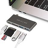 GIKERSY Adaptateur Multiport USB-C HUB, Hub USB Type C pour MacBook Pro Apple MacBook 12'avec Port Thunderbolt 3, Port de Chargement Passe-Bas, 2 Port USB 3.0, Lecteur SD/Micro SD