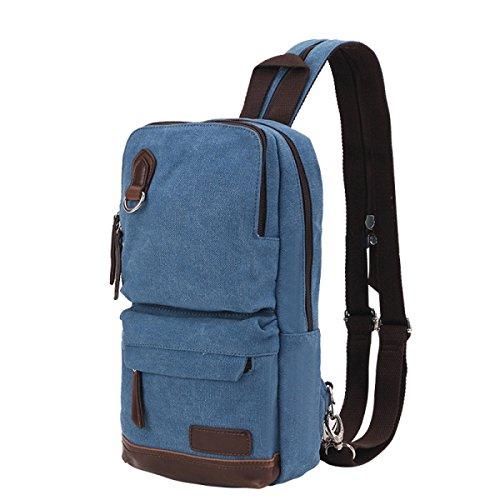 BULAGE Taschen Draußen Atmungsaktiv Einfach Leinwand Rucksäcke Mode Männer Und Frauen Schulter Schulter Rucksack Leichte Tasche Brusttasche Skyblue