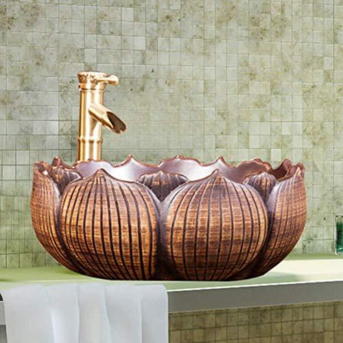 OHHG Bad Moderne Waschbecken Einfache Keramik Aufsatzbecken Blütenblattform Hochtemperaturkeramik Material Retro Kunst Waschbecken Leicht Zu Reinigen Mit Wasserhahn Set A (Home Möbel Behalten)