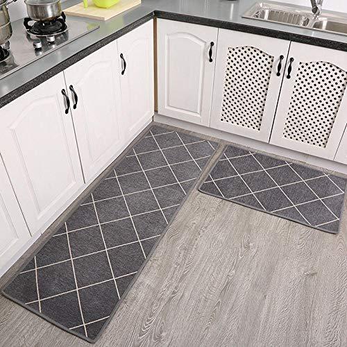 Tiwosan Küchenmatten ölbeständige wasserdichte rutschfeste saugfähige matten rechteckige türmatten Eingang Eingang Schlafzimmer Nacht Teppich Haushalt Badezimmer-EIN_50 * 80 + 50 * 200 cm