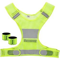 kwmobile 3in1 Set Reflektor Sicherheitsweste - 1x Warnweste 2x Schnapparmband Neon Gelb - Reflektorweste für Fahrrad Motorrad fahren - Laufen Joggen