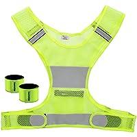 kwmobile Kit Gilet Jaune Sécurité - Gilet élastique - 2X Bracelet Réfléchissant Fluo - Haute visibilité Nocturne - Vélo Jogging Moto Enfant