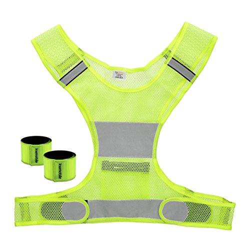 kwmobile Gilet Catarifrangente di Sicurezza - 1x Imbragatura rifrangente 2X Bracciale Fluorescente per Auto Bici Sport Moto Corsa - Giallo Neon