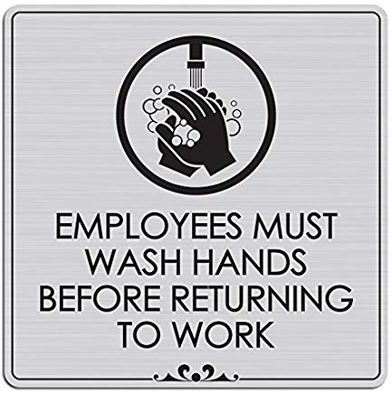 Shimeier Employees Must Wash Hands Before Returning to Work Laser Engraved Retro Vintage Tin Sign Coffee House Business Dining Room Pub Beer 30 cm x 30 cm