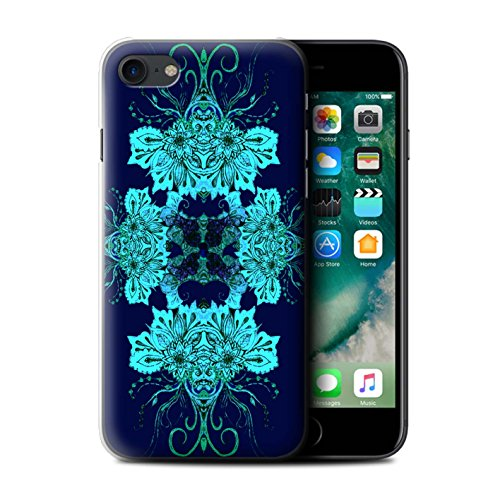Stuff4 Hülle / Case für Apple iPhone 7 Plus / Blaue Blume Muster / Symmetrie Muster Kollektion Blaue Blume