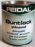 Feidal Alkydharzlack, Buntlack Samtcolor, auf Lösemittelbasis, für Innen und Außen, Schwarz / Tiefschwarz RAL 9005, glänzend, 0,75 L, Malerqualität