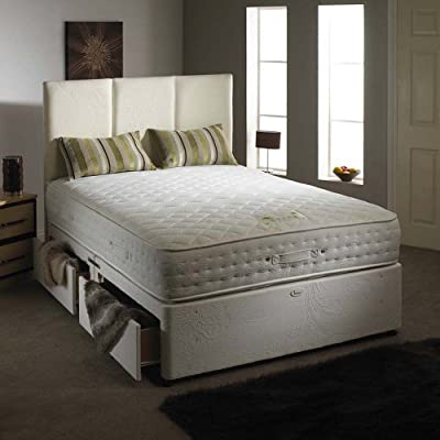 Happy Beds Natural Aloe Vera Divan Bed Set Memory Foam Pocket Sprung Mattress 2 Drawers One Per Side Headboard