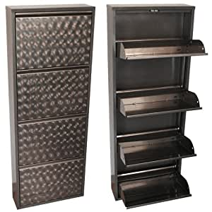 kmh schuhschrank mit 4 klappen aus grau lackiertem. Black Bedroom Furniture Sets. Home Design Ideas