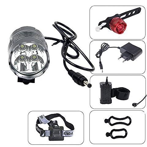 CDC® CREE XML T6 U2 4 LED 3 Modes 5200 Lumens Cyclisme Bicyclette Vélo Tête Lumière Phare HeadLight pour Extérieur Sport Avec 4 x 18650 (8.4V 7200mAh) Batterie + Lumière arrière EU Plug