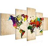 Bilder Weltkarte World Map Wandbild 200 x 100 cm Vlies - Leinwand Bild XXL Format Wandbilder Wohnzimmer Wohnung Deko Kunstdrucke Bunt 5 Teilig - MADE IN GERMANY - Fertig zum Aufhängen 105151a