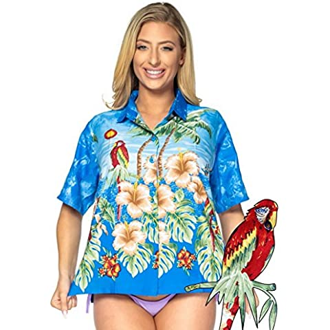 La Leela liscio likre pappagallo Hibiscus Beach casuale donne hawaiane camicia blu in alto