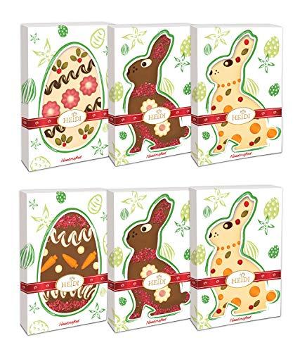Preisvergleich Produktbild Heidi Chocolat Tafeln in Ostereier- und Osterhasenform I Handgemacht I Süße Osterdeko I Verschiedene Schokoladensorten I Weiße Schokolade und Milchschokolade I 6er Set