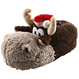 Tierhausschuhe Rentier Weihnachten Rudi Tier Hausschuhe Pantoffel Schlappen Kuscheltier Plüsch Damen Herren 35-41, TH-Rentier, Modell Hellbraun, Größe 37/39
