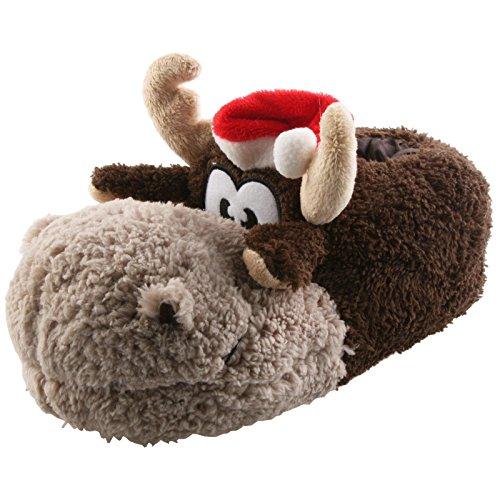 er Weihnachten Rudi Tier Hausschuhe Pantoffel Schlappen Kuscheltier Plüsch Damen Herren 35-41, TH-Rentier, Modell Hellbraun, Größe 37/39 ()