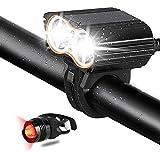 HiCool Luci Bici Doppio LED, Faro Bici Impermeabile Super Luminoso 2400 Lumen Dotato Batteria Esterna 4400mAH USB Ricaricabile