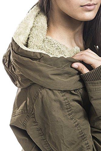 Urban Classics Damen Jacke Ladies Garment Washed Long Parka Grün (Olive 00176)