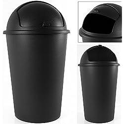 Deuba Poubelle Corbeille 50 litres Noir - Couvercle basculant - 68cm X 40cm - Maison Cuisine déchets