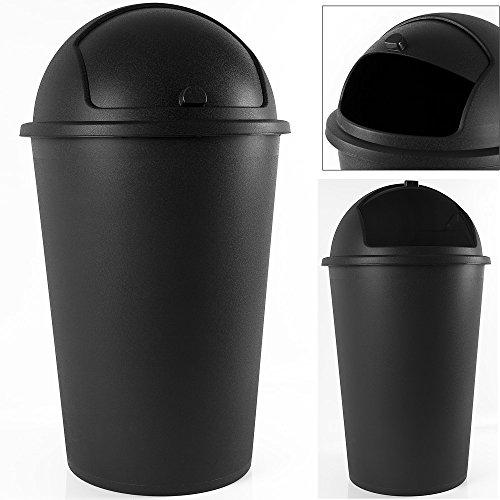 Poubelle corbeille 50 litres couvercle basculant 68cmX40cm - Noir - cuisine bureau