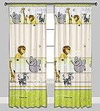Kinder Vorhänge für Kinderzimmer 100% Baumwolle, 155 x 155 cm (grüner Zoo imagine)