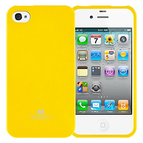 Goospery Marlang Marlang iPhone 4/4S Hülle, Gratis Displayschutzfolie [Slim Fit] TPU Fall [Flexibel] Pearl Jelly [Schutz] Bumper Cover für Apple iPhone 4S, Gelb 4s Pearl Case Iphone