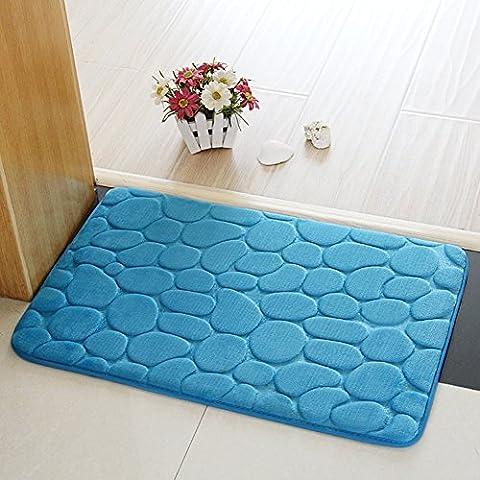 Tapis de salle de bain, Chickwin Flanelle Antidérapant Tapis de bain àTapis de bain Tapis de douche super absorbant et doux (40*60 cm, Bleu)