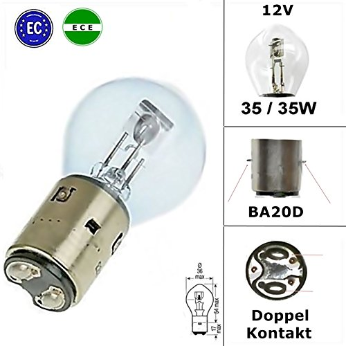 2x Qualitäts Lampe - 12V - Glühlampe Birne - E-geprüft / E-Zeichen - 35/35W - BA20D für Scheinwerfer