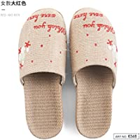 fankou Spring and Summer Cool Slippers Home Bedroom Flat with Furniture of Men and Women in The Nation Slippers Thick Flax Straw,39-40, Red
