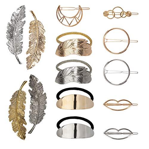 Metall Haarklammern Feder Haar Spangen Kreis Infinity Moon Lippen Haarspange Blätter Elastische Haargummi für Mädchen 14Pcs