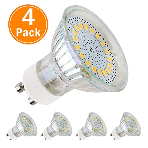 GU10 LED - Glühbirne, LED Lampe 5w Warmweiß (3000k) Ersetzt 60W Halogen 120° Abstrahlwinkel Leuchtmittel GU10 mit 18 LEDs, GU10 LED Birne 350 Lumen, 4er Stück