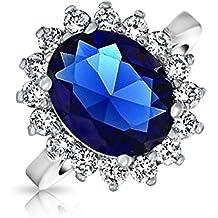 Bling Jewelry Royal anello di fidanzamento di zaffiro simulato rodiata