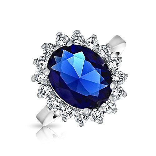 Bling Jewelry 5CT Royal Blue Oval Sapphire simulado