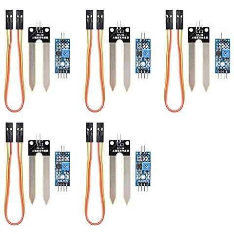 XCSOURCE 5X Détecteur d'humidité Eau Sol Détection humidité hygromètre Module Arduino Fil TE215