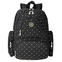 Cateep Multifunctional Nappy Backpack Diaper Changing Bags with Stroller Clips (Black Dot)
